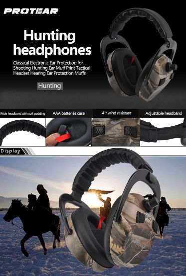 Protear Electronic Ear Protection Shooting Hunting Ear Muff Print Tactical Headset Hearing Ear Protection Ear Muffs for Hunting  #fashion #style #art #love #shopping #school #student #tactical #hunting