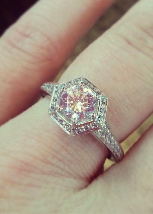 Real Ritani Engagement Rings - Art Deco Hexagonal Halo    #RitaniPinterest