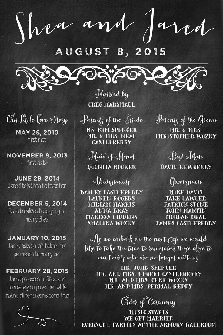 Chalkboard Wedding Program Poster