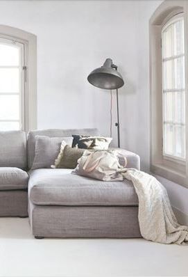 cover the sofa in grey linen