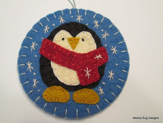 Wool Felt Baby Penguin Ornament First by WoollyBugDesigns on Etsy