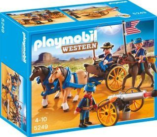 PLAYMOBIL® Horse-drawn Carriage with Cavalry Rider, No. Theme: Far West Details : 3 soldier(s), 3 horses, 1 canon(s), gun(s), 1 flag, Pistol Age : Age 4 and upwards http://www.comparestoreprices.co.uk/january-2017-7/playmobil®-horse-drawn-carriage-with-cavalry-rider-no-.asp