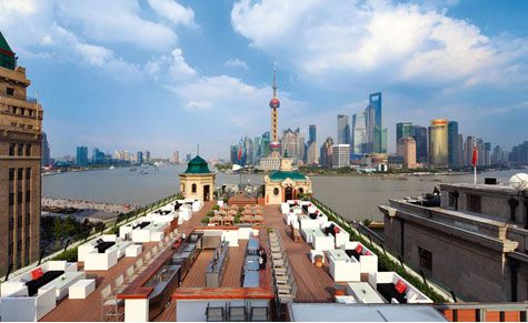 The rooftop terrace of the Swatch Art Peace Hotel in Shanghai. Was here yesterday at Shook! (June 13, 2012)