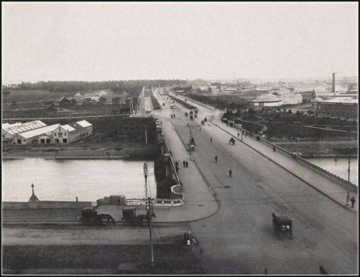 St Kilda Rd,Melbourne in Victoria in 1895,from St Paul's Cathedral.