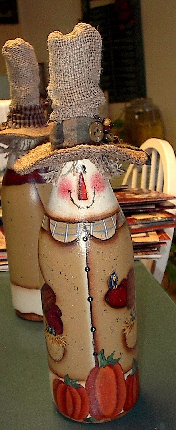 scarecrow wine bottle painting