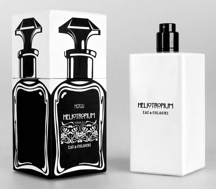 "Design by CPDS ""This perfume set is our designer's reflections about ""from Standard to concept"" (from standard to design).   HELIOTROPIUM (lat.) – heliotrope – is a sort of a plant some of which are grown up as a decorative one because of a pleasant smell, average vanilla and cinnamon, and attractive appearance. During the day this flower turns after the sun.   Internationally it was decided to ""hide"" a bottle. A bottle is in a bottle."