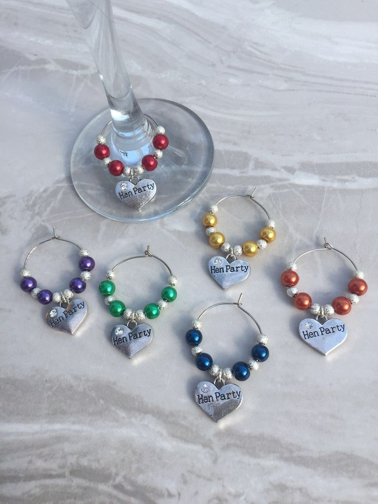A personal favourite from my Etsy shop https://www.etsy.com/uk/listing/277277820/hen-party-wine-glass-charms-wedding