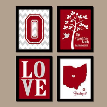 OHIO State University Buckeyes College Custom Family Monogram Initial State LOVE Bird Tree Wedding Date Set of 4 Prints Wall Decor ART