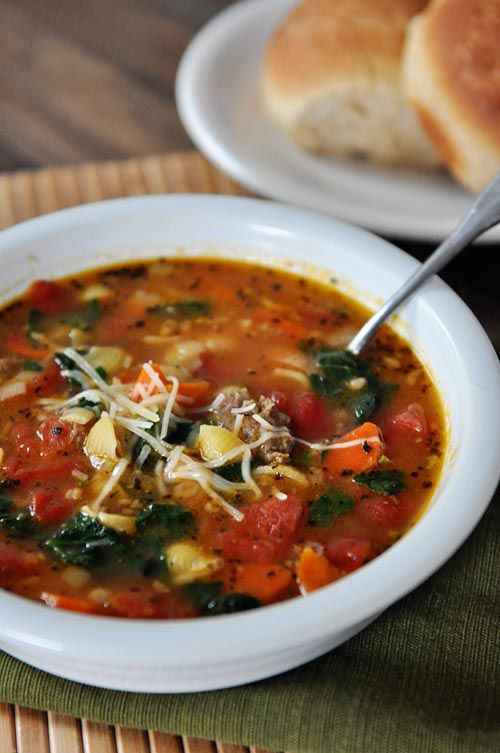 Tuscan Sausage and Shells Soup Recipe ~ The simple flavors combine into a rich, hearty soup full of white beans, lean sausage, spinach and tiny little pasta shells