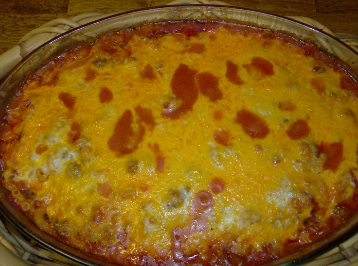 This is my version of the Cheesy hamburger casserole.  I added some tomato sauce and didn't broil the cheese. just added it about 5 minutes before removing from oven. The whole family loved it!
