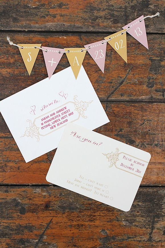 Wedding Invitations with pull-out bunting