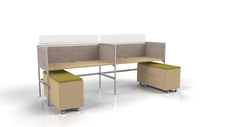 2 Pack workstation with high pressure laminate work-surfaces, storage credenzas, ezo & acrylic dividers.