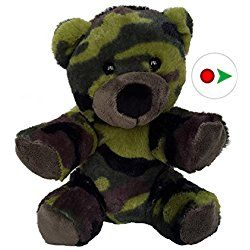 Record Your Own Plush 8 inch Camo Teddy Bear - Ready 2 Love in a Few Easy Steps