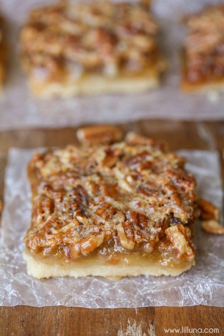 Pecan Pie Bars - a delicious shortbread bottom layer topped with gooey Pecan Pie filling.