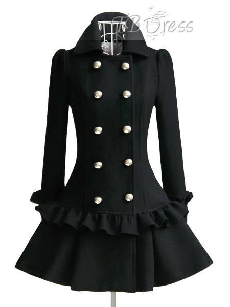 Un cappotto solido di colore Falbala donne Pieghe