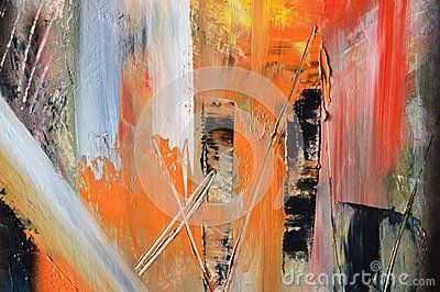 Eccentric hues of orange, red, white and light blue oil painting, background.
