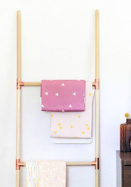 Easy DIY Wooden Dowel Ladder /// Design Fixation: 7 Gorgeous DIYs For Your Home