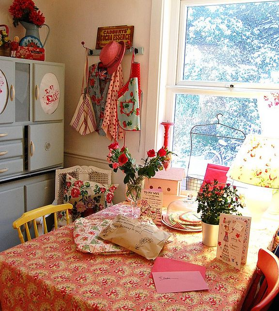 So pretty; pink and roses tablecloth; floral, flowers, cath kidston; painted mismatched chairs