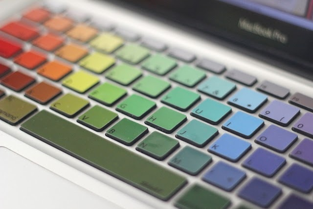 keyboard . . . looks like paint samples. (But I could never remember the letters!): Colour, Macbook Keyboard Decals, Rainbows Keyboard, Keys, Rainbows Macbook, Color Keyboard, Products, Macbook Pro, Paintings Samples