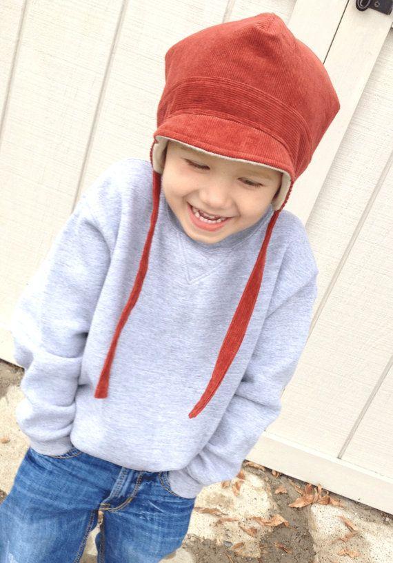 Little Boy Winter Hat Ear Flap Boy Hat by BoundtobeCreative