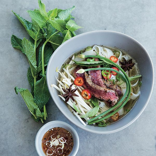The thing I love most about pho is all the sauces and herbs that go along with it. You can make a simple bowl or go to town and really dress it up – there are no rules!SERVES: 4Ingredients