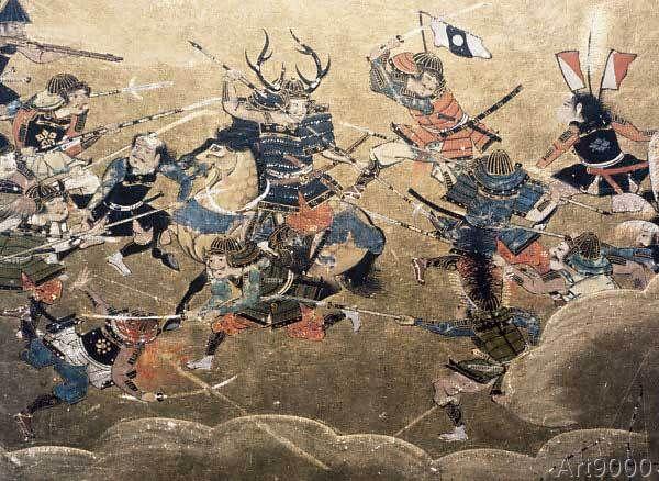 Japanische Geschichte - Capture of Osaka 1615 / Jap. screen
