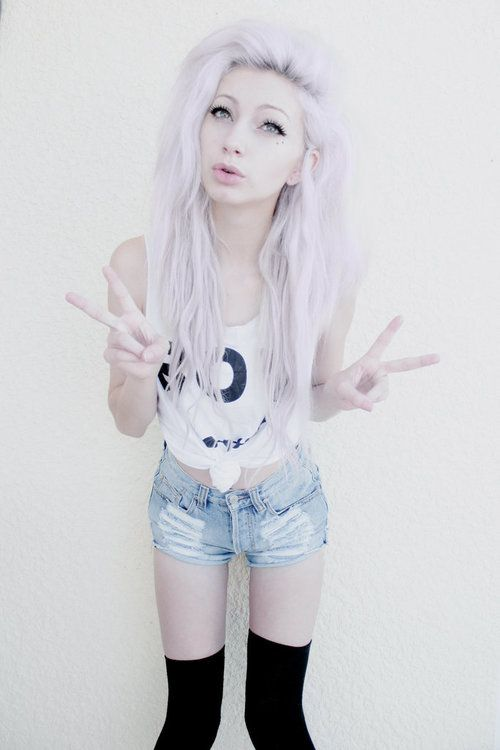 platinum/lavender hair