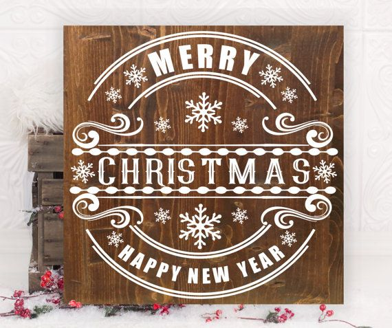 Merry Christmas Vinyl Amp Wood Sign 16 Quot X16 Quot Holiday Art