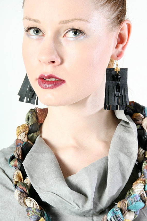 Zip me up earrings from upcycled material by PiiaMyllerDesign, €15.00