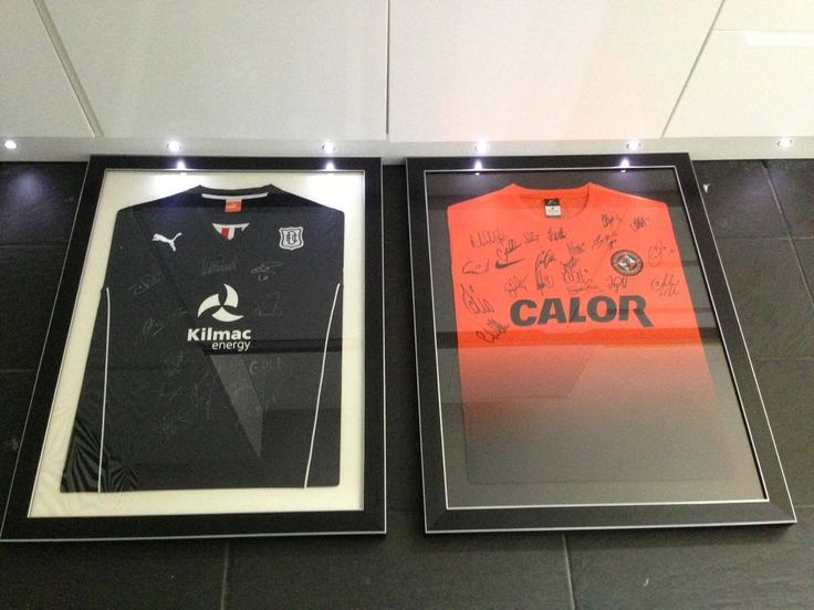 framed signed Dundee FC and Dundee United FC football shirts. #football #footballframing #DUFC #DFC