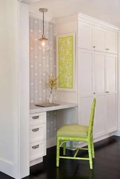kitchen office organization. sweet kitchen office space with wallpaper marble countertop and lime green accents annsley interiors accent wall for flush small desk area organization