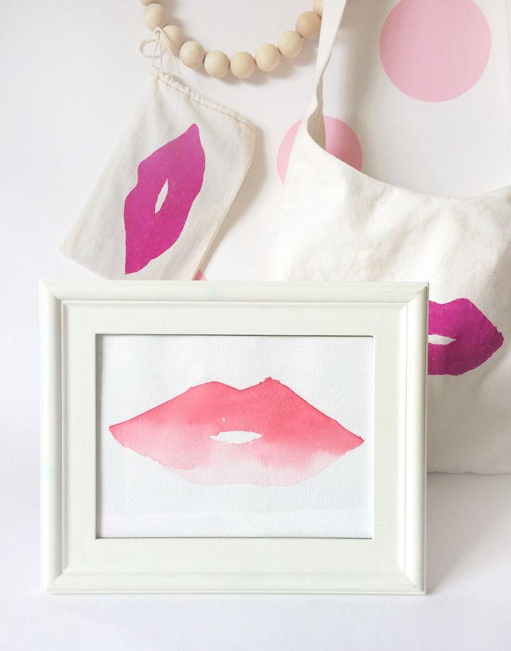 DIY watercolor lips artwork and canvas bag