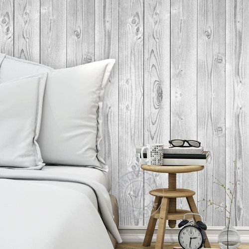 Vintage White Wood Wallpaper - Peel & Stick, Repositionable Fabric