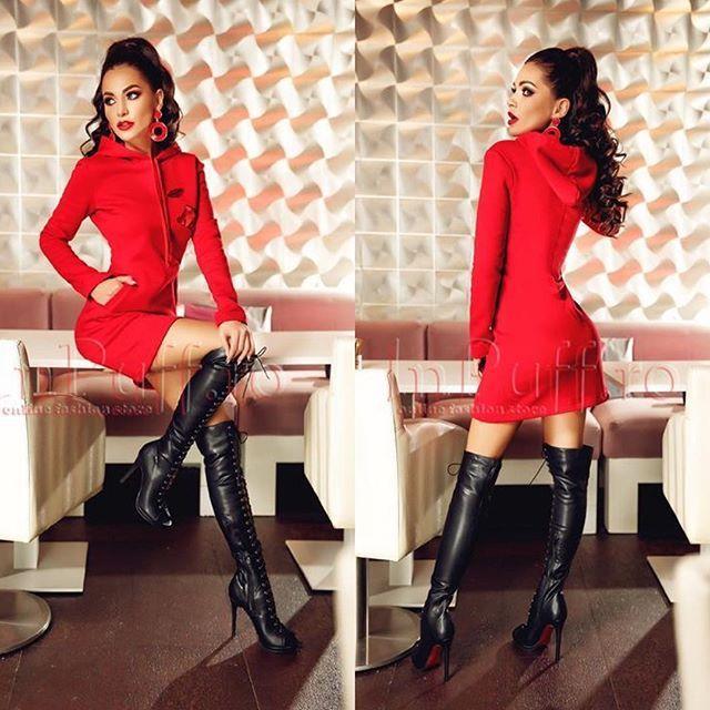 Rochie lejera de zi cu gluga Pret: 199.00 Lei - detalii pe site #reddress #fashion #red #style #model #dress #ootd #love #fashionista #beautiful #photoshoot #littlegirl #stylish #landscape #blondehair #sexy #halloween #smile #fashionblogger #art #forest #wedding #instafashion #rochii2018