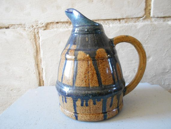 Vintage French rustic pitcher from Digoin wine barrel jug