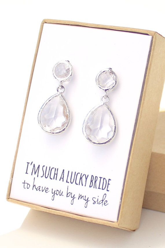 THIS LISTING INCLUDES • Clear Crystal / Silver Two Piece Teardrop Earrings (model # EB3) • Individually gift-wrapped with note in box and name tag on outside of box  MATERIALS • Clear Crystal glass • Rhodium-plated brass frame • Sterling silver ear studs (not just plated! - great for sensitive ears)  SIZE • 1 inch (25mm) x 1/2 an inch (13mm)  SHIPPING TIME • 1-7 business days lead time (If you need it sooner, send me a message) • 2-5 business days shipping time (for U.S. orders)  CHECKOUT…