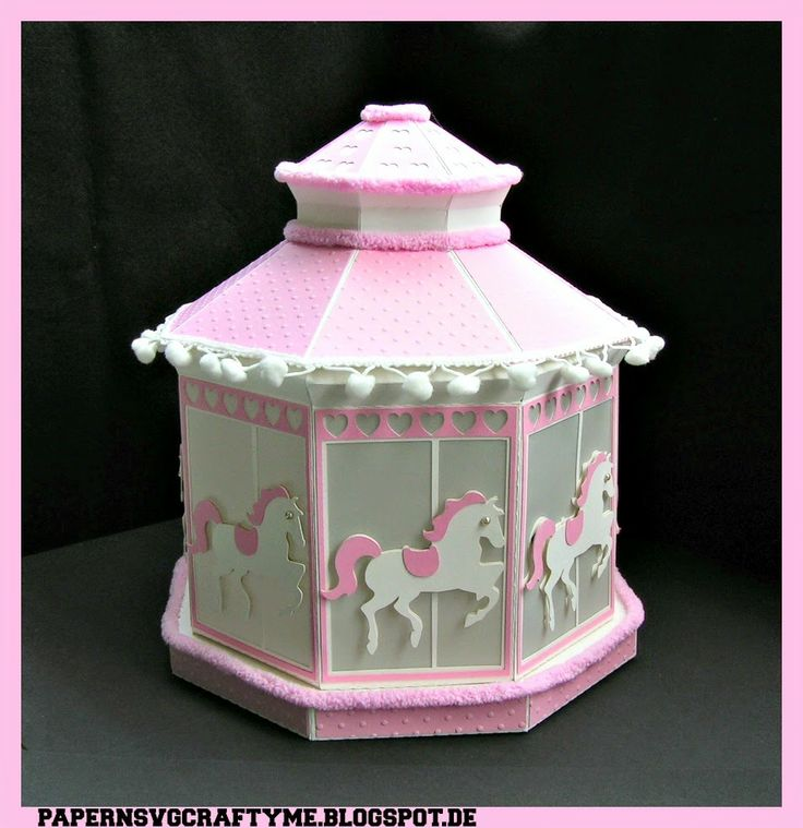 My ILLUMINATED CAROUSEL CHRISTENING GIFT .It is altered from the Winter Gazebo from SVGcuts.
