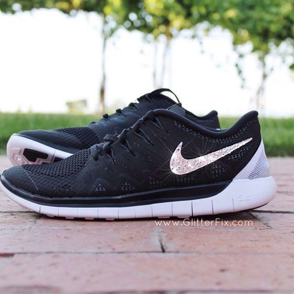 Image of New Women's Nike Free 5.0 w/ Swarovski Rhinestones - Black