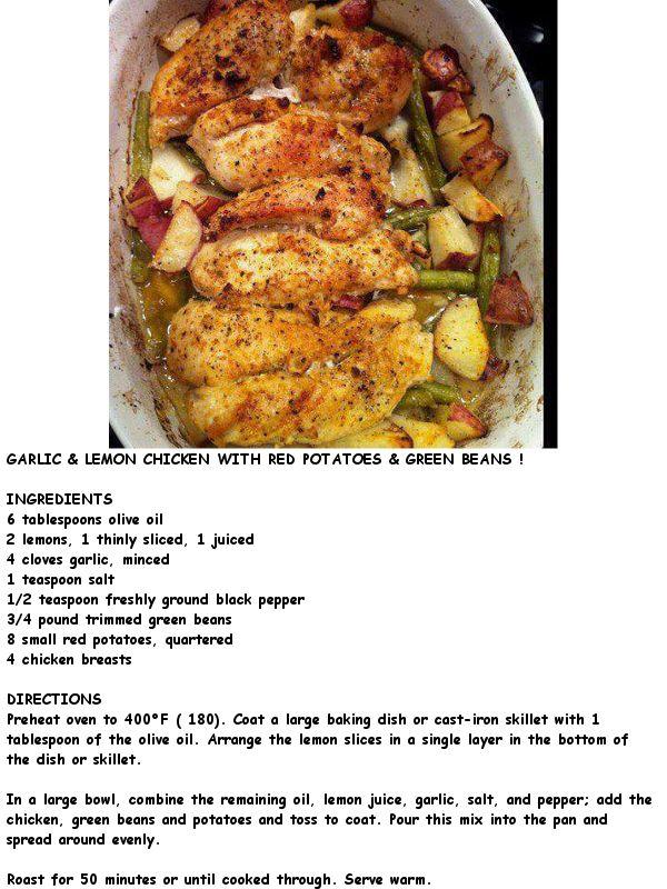 Garlic & Lemon Chicken with Red Potatoes & Green Beans