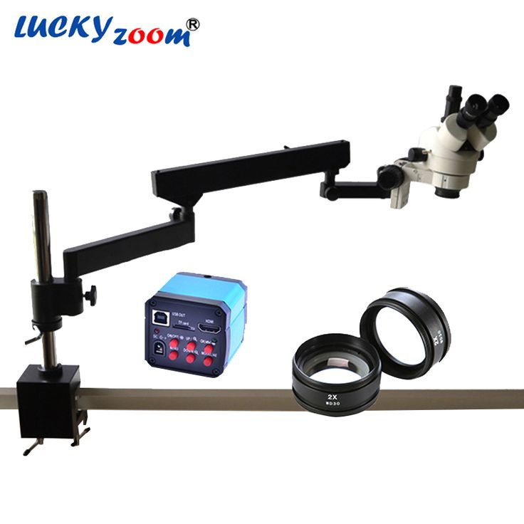Lucky Zoom 7X-90X Articulating Arm Zoom Stereo Microscope+14MP USB HDMI Digital Industry Camera SZM2.0X Objective Auxillary Lens