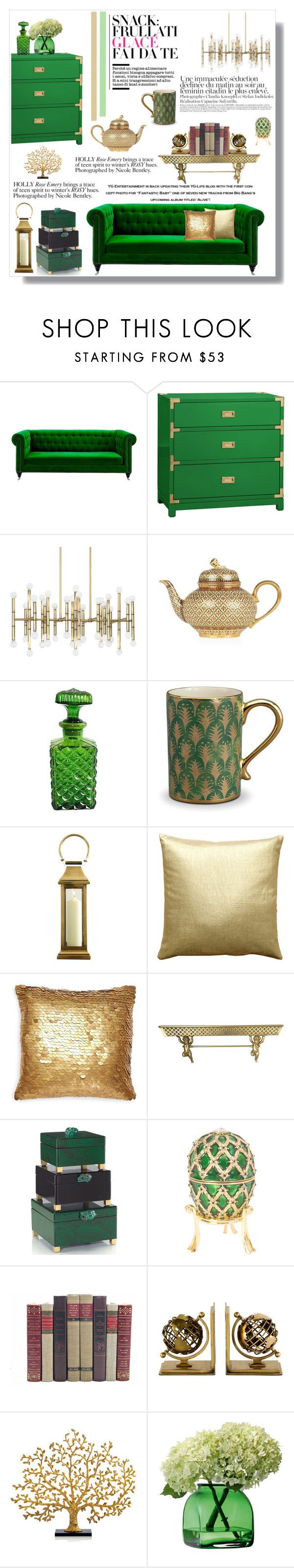 """""""Green and Gold"""" by doltshey ❤ liked on Polyvore featuring interior, interiors, interior design, home, home decor, interior decorating, Wild Rose, Bungalow 5, Jonathan Adler and L'Objet"""