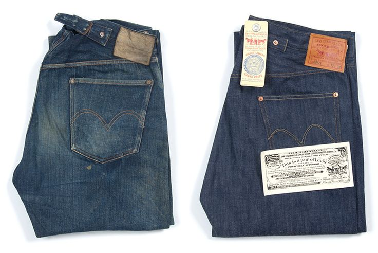"""In commemoration of the 100th anniversary between Levi's and Cone Denim, Levi's Vintage Clothing releases """"The Golden Handshake"""" collection including a special 1915 501 jean. Pictured on the left is the original model, on the right is the repro. Read more at: http://rwrdn.im/lvc-golden-handshake"""