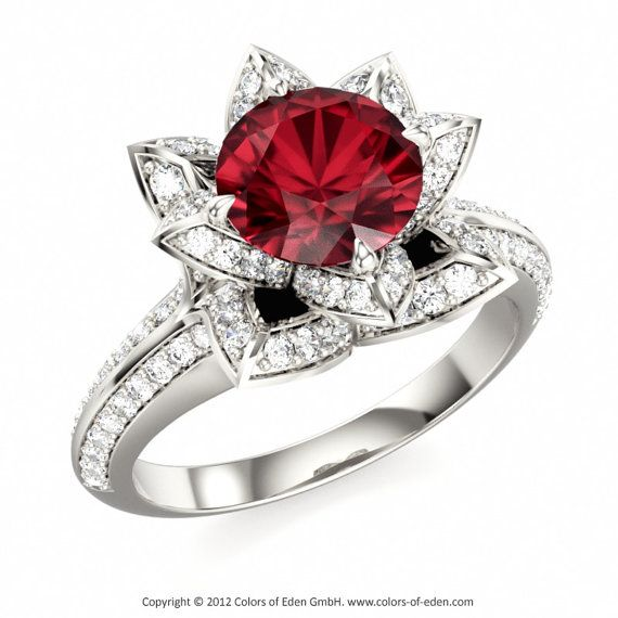 Diamonds with free Lotus Ring women by discount Ruby and ColorsofEdenShop Engagement shoes for