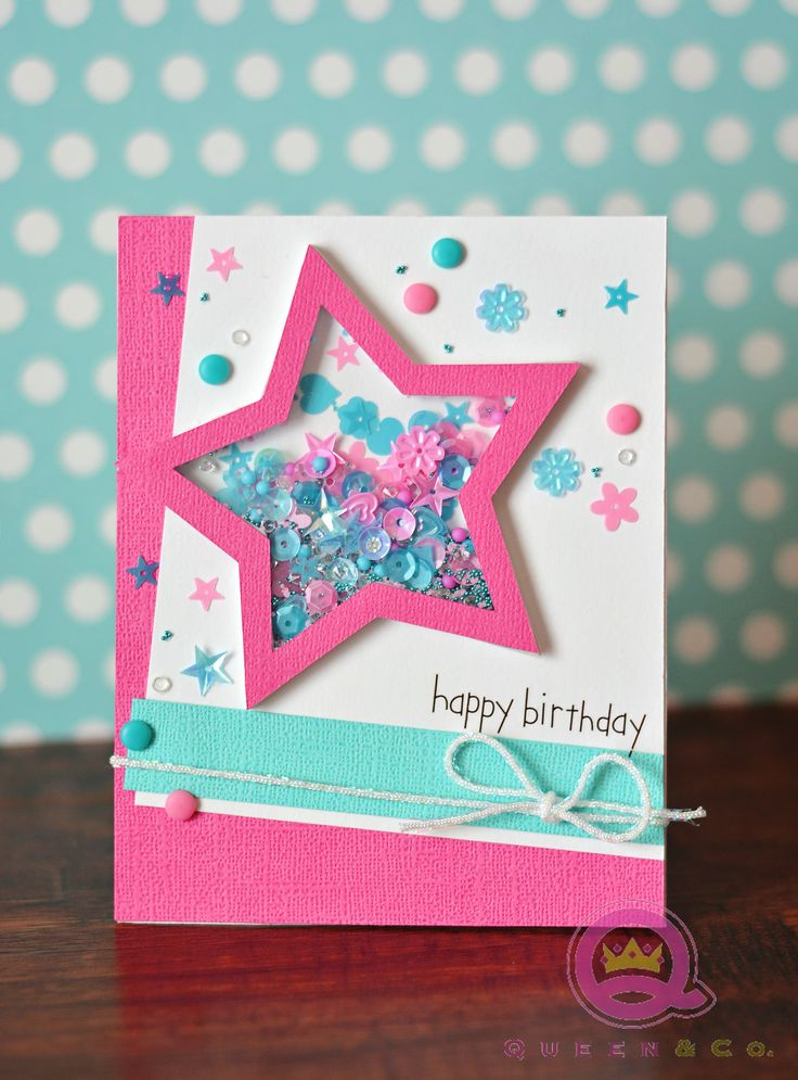 Happy Birthday handmade card using Queen & Co Pop Up shaker set. Perfect for creating shaker cards, birthday cards, masculine cards, get well soon cards and more.