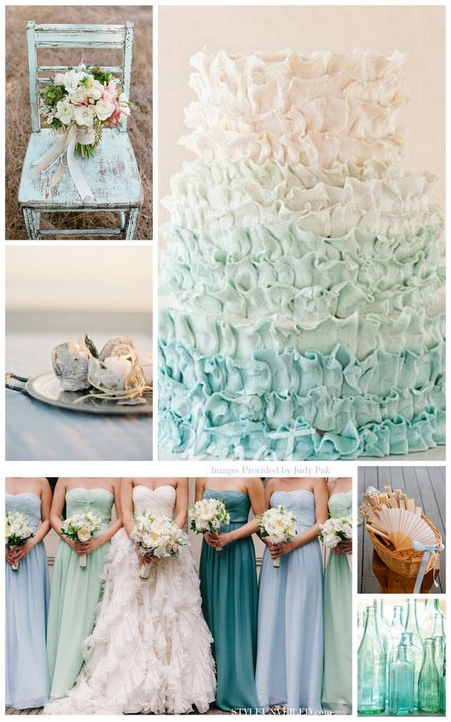 Elegant seaside wedding beach wedding sea glass for Bridesmaid dresses for beach wedding theme