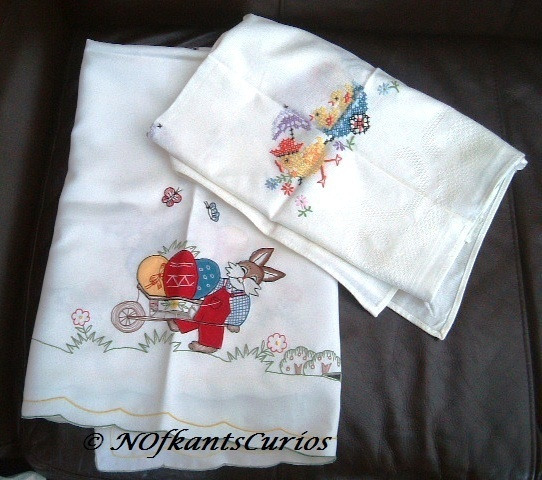 Two Vintage Embroidered Square Easter Table Cloths for Craft Projects. £5.00