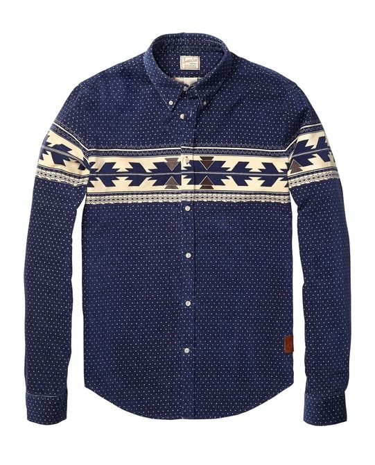 Corduroy Shirt With Placement Print > Mens Clothing > Shirts at Scotch & Soda
