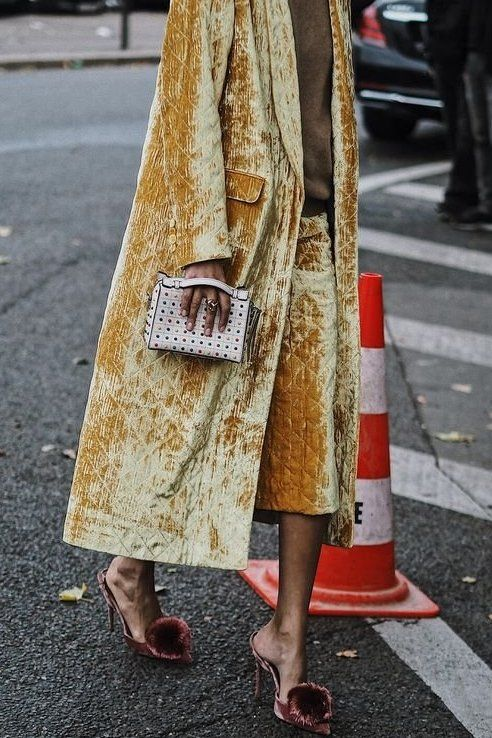 Pair your coats with your skirt to build a cohesive chic outfit! Loving this textured faded yellow coat.. in love!