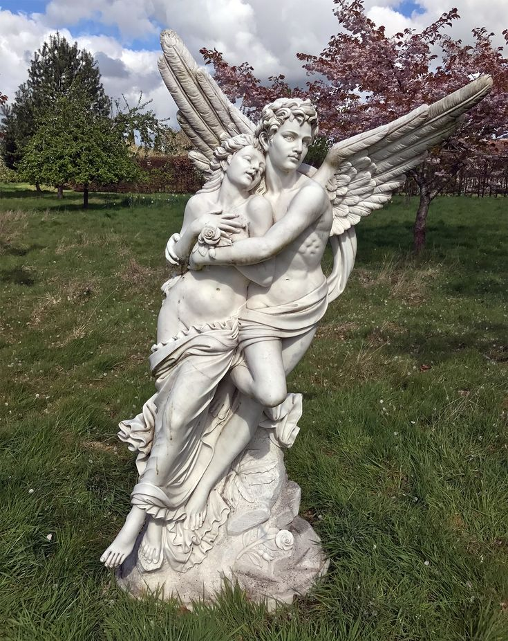 Cupid and Psyche Marble Statue - 197cm Garden Sculpture. Buy now at http://www.statuesandsculptures.co.uk/cupid-and-psyche-marble-statue-197cm-garden-sculpture