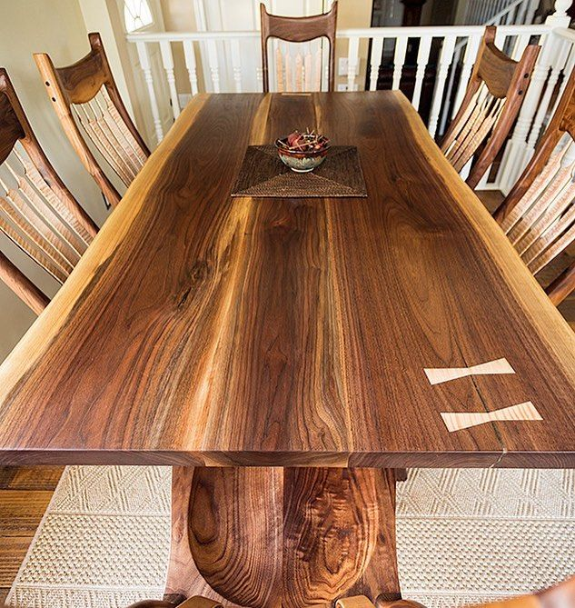 Walnut Wednesday? A Maloof inspired walnut table and chairs with curly maple accents I made last summer #tabletop #dining #kitchen #wood #woodporn #woodwork #woodworkforall #custom #walnut #maple #yyc #yycwoodworking #yycwoodworker #calgary #carpenter #finewoodworking #festool #festooldomino #generalfinishes #maloof #sammaloof #woodporn #woodreview #finewoodworking #bestigwoodworking #woodshop_warrior #woodshop #woodcraft #craftsman #woodworkcraft #topwoodworking